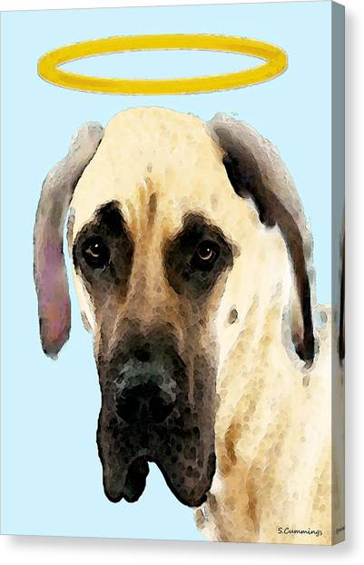 Pitbulls Canvas Print - Great Dane Art - I Didn't Do It by Sharon Cummings