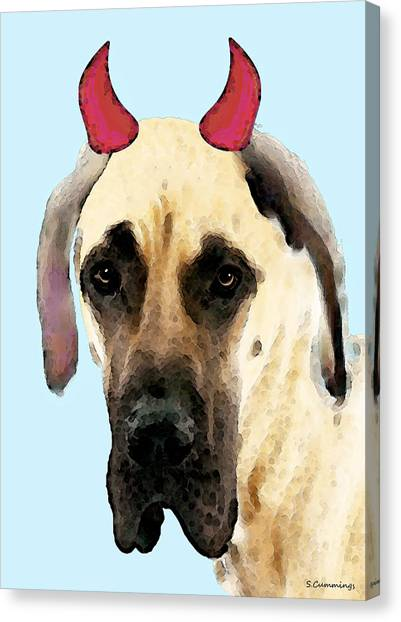Great Danes Canvas Print - Great Dane Art - Ok Maybe I Did by Sharon Cummings