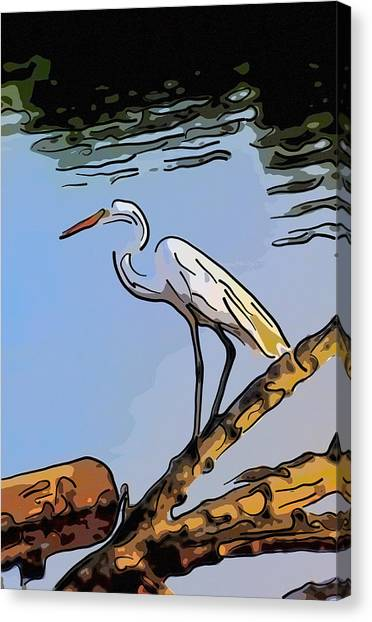 Great Egret Fishing Abstract Canvas Print