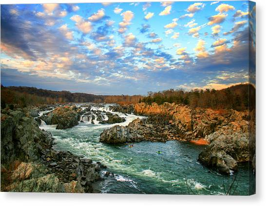 Kayaks Canvas Print - Great Falls In Color by Tony Delsignore