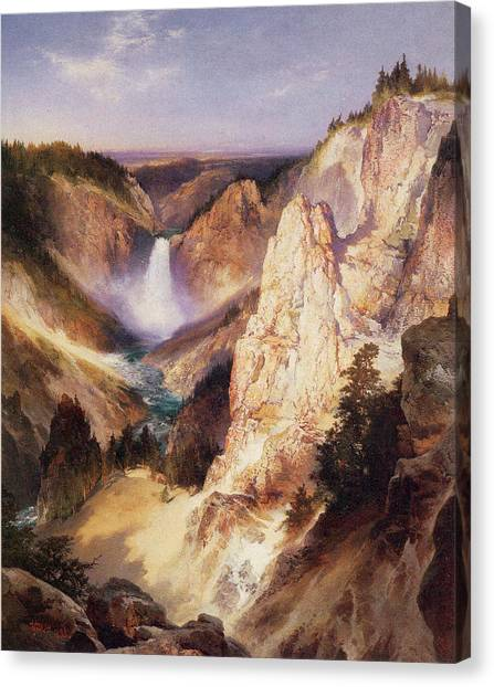 Great Falls Of Yellowstone Canvas Print - Great Falls Of Yellowstone by Thomas Moran