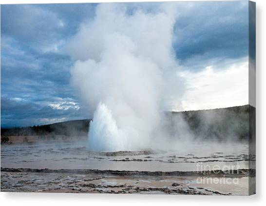 Great Falls Of Yellowstone Canvas Print - Great Fountain Geyser On Firehole Lake Drive by Fred Stearns
