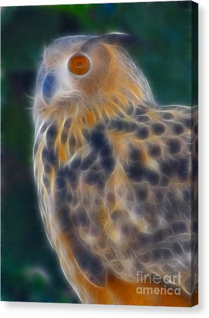 Bataleur Eagle Canvas Print - Great Horned Owl 2-fractal by Gary Gingrich Galleries