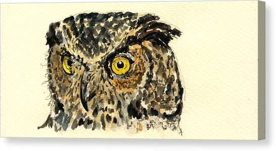 Nature Study Canvas Print - Great Horned Owl by Juan  Bosco