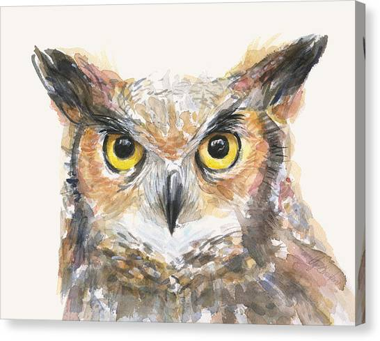 Owls Canvas Print - Great Horned Owl Watercolor by Olga Shvartsur