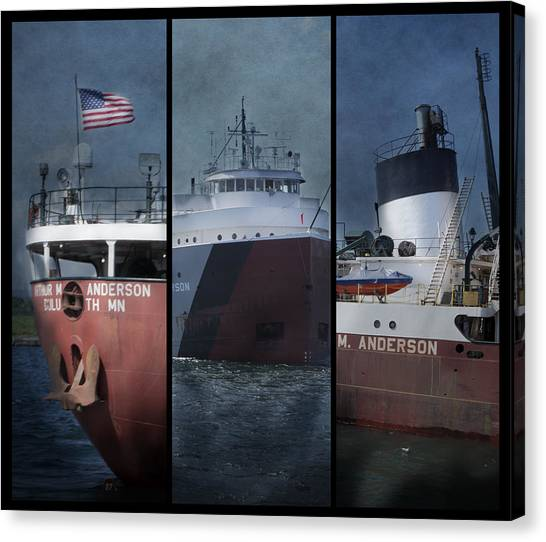 Great Lakes Freighter Triptych Arthur M Anderson Canvas Print