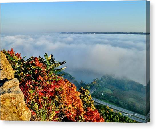 Great River Road Fog Canvas Print