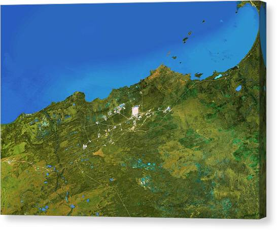 Northwest Territories Canvas Print - Great Slave Lake by Worldsat International/science Photo Library