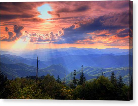 Mountain Sunset Canvas Print - Great Smoky Mountains  by Doug McPherson
