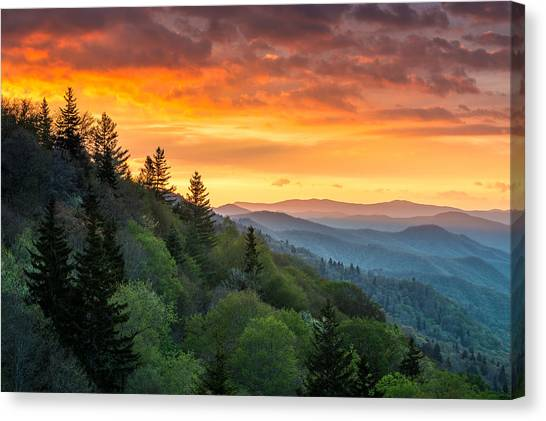 Great Smoky Mountains North Carolina Scenic Landscape Cherokee Rising Canvas Print