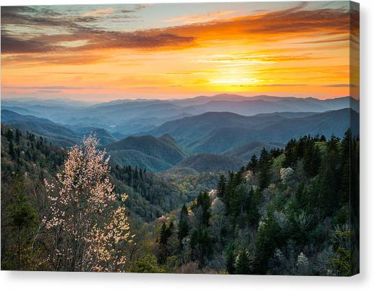 Tn Canvas Print - Great Smoky Mountains Spring Sunset Landscape Photography by Dave Allen