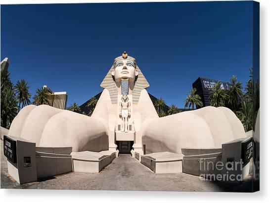 Sphinxes Canvas Print - Great Sphinx Of Giza Luxor Resort Las Vegas by Edward Fielding