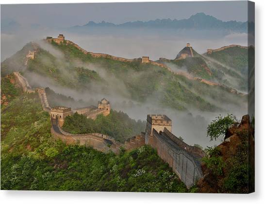 Great Wall Of China On A Foggy Morning Canvas Print by Darrell Gulin
