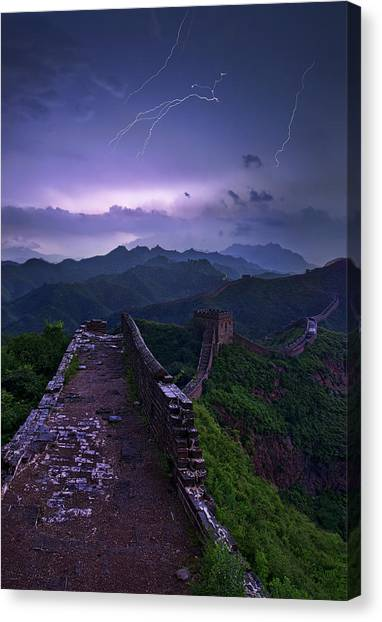 Lightning Canvas Print - Great Wall by Yan Zhang