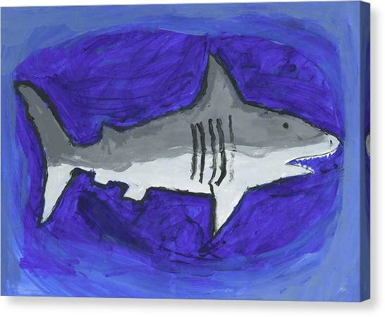 Great White In The Deep Blue Sea Canvas Print by Fred Hanna