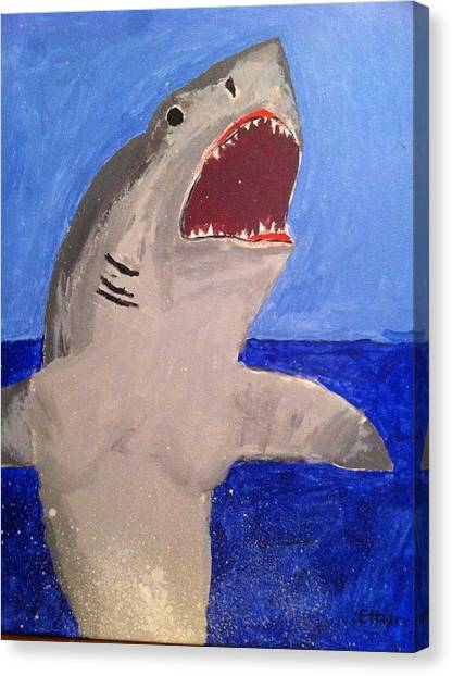 Great White Shark Breaching Canvas Print by Fred Hanna
