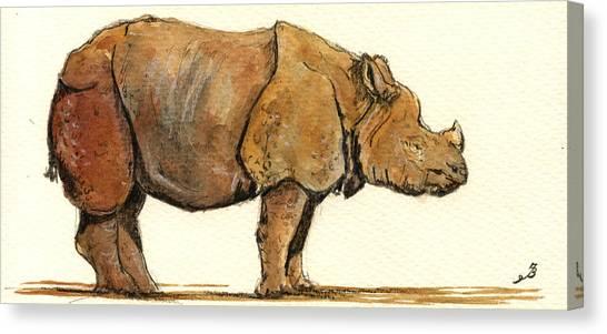 One Horned Rhino Canvas Print - Greated One Horned Rhinoceros by Juan  Bosco