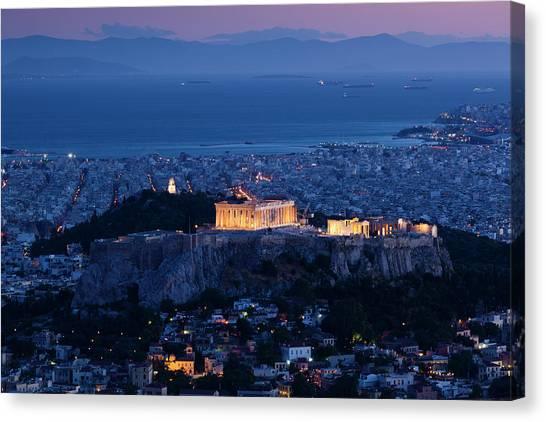 Greece, Athens, Lycabettus Hill Canvas Print