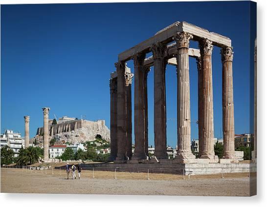 Greece, Athens, Temple Of Zeus Canvas Print