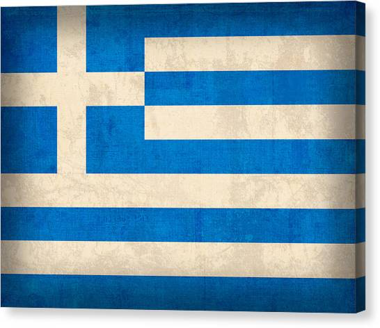 The Acropolis Canvas Print - Greece Flag Vintage Distressed Finish by Design Turnpike
