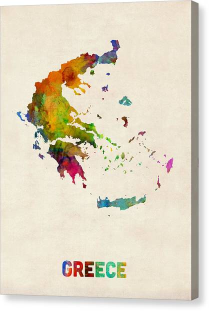Greek Art Canvas Print - Greece Watercolor Map by Michael Tompsett