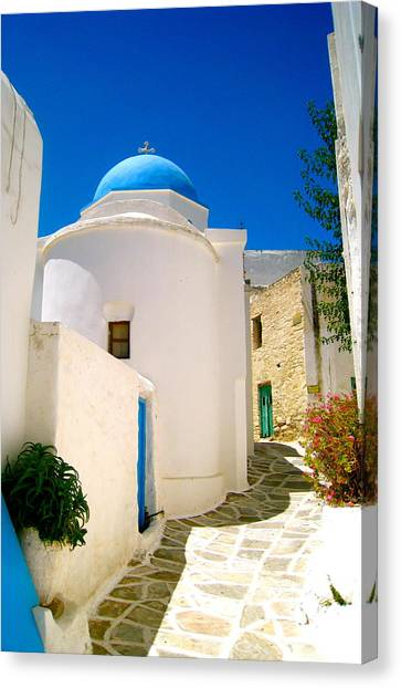 Greece Canvas Print - Greek Blue  by Emma  Heidemann