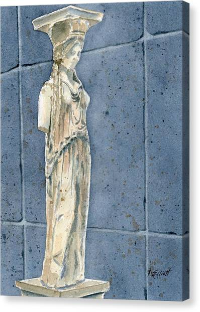 The Acropolis Canvas Print - Greek Caryatid by Marsha Elliott