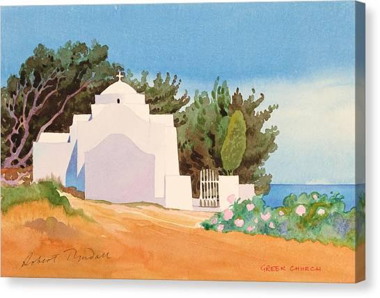 Orthodox Art Canvas Print - Greek Church Wc by Robert Tyndall