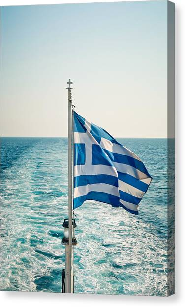 Greece Canvas Print - Greek Flag by Tom Gowanlock
