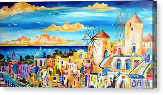 Greek Village Canvas Print