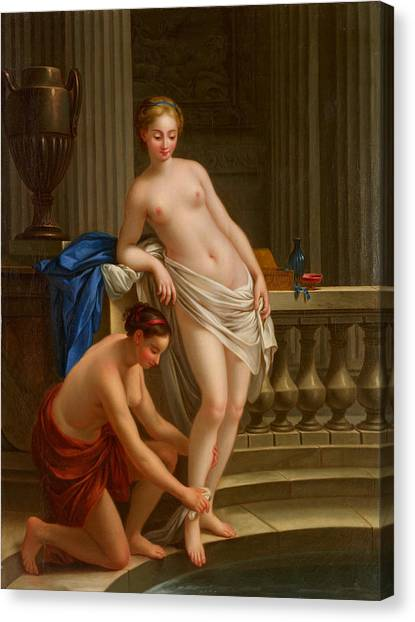 Erotic Framed Canvas Print - Greek Woman At The Bath by Joseph-Marie Vien