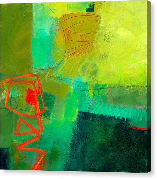 Study Canvas Print - Green And Red #1 by Jane Davies