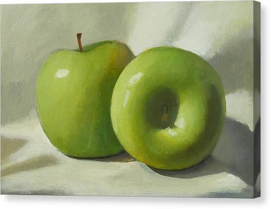 Green Apples Canvas Print by Peter Orrock