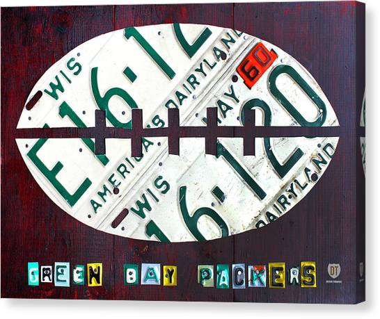 Green Bay Packers Canvas Print - Green Bay Packers Football License Plate Art by Design Turnpike