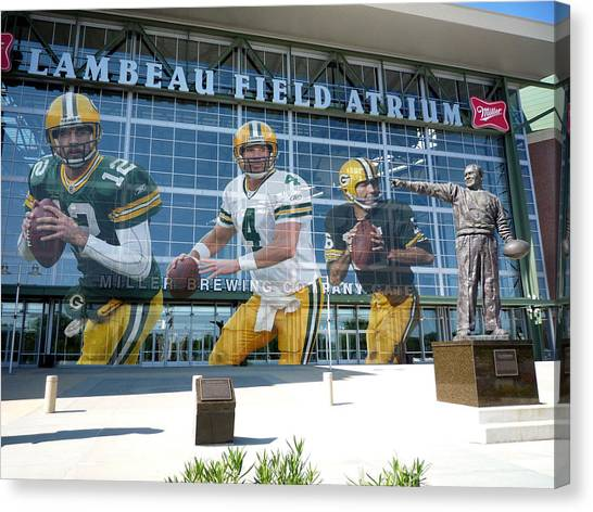 Goal Canvas Print - Green Bay Packers Lambeau Field by Joe Hamilton