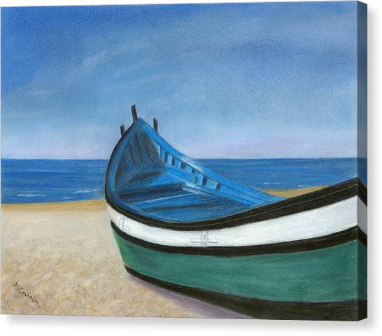 Green Boat Blue Skies Canvas Print