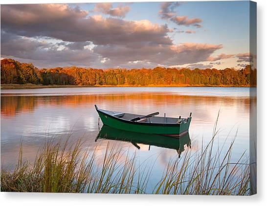 Green Boat On Salt Pond Canvas Print