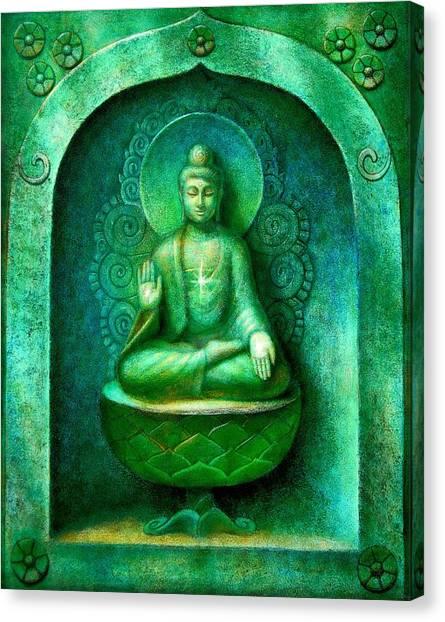 Buddhism Canvas Print - Green Buddha by Sue Halstenberg