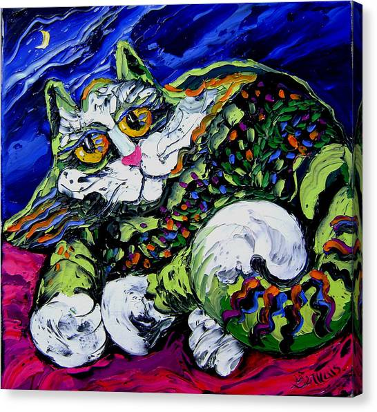 Green Cat Canvas Print by Isabelle Gervais