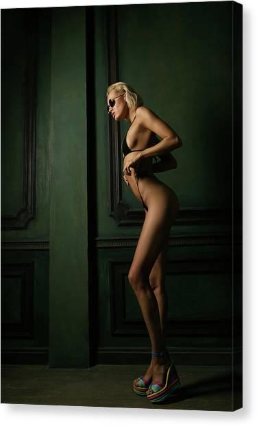 Bikini Canvas Print - Green by Denis Skachkov
