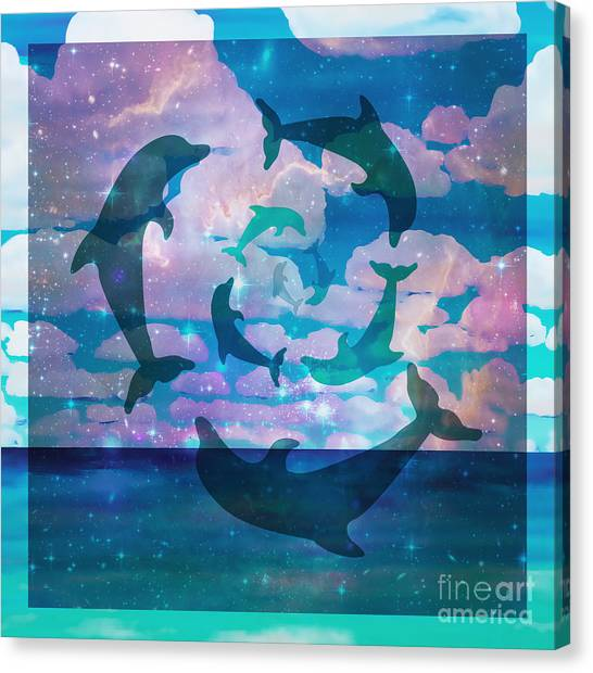 Green Dolphin Dance Canvas Print