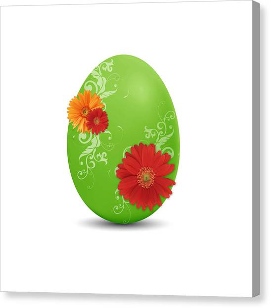 Easter Eggs Canvas Print - Green Easter Egg by Aged Pixel