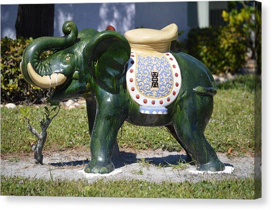 Decorative Canvas Print - Green Elephant  by Doug Grey