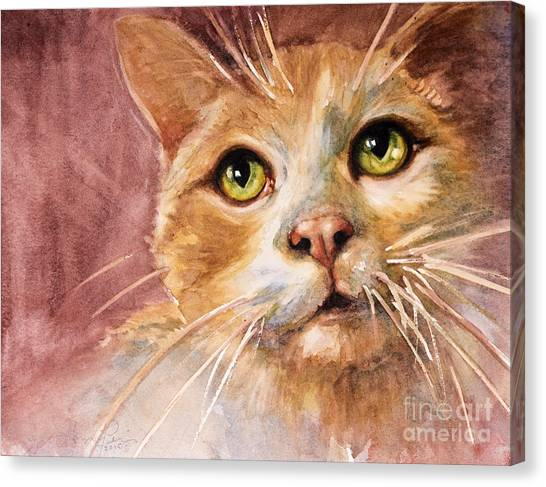 Watercolor Pet Portraits Canvas Print - Green Eyes by Judith Levins
