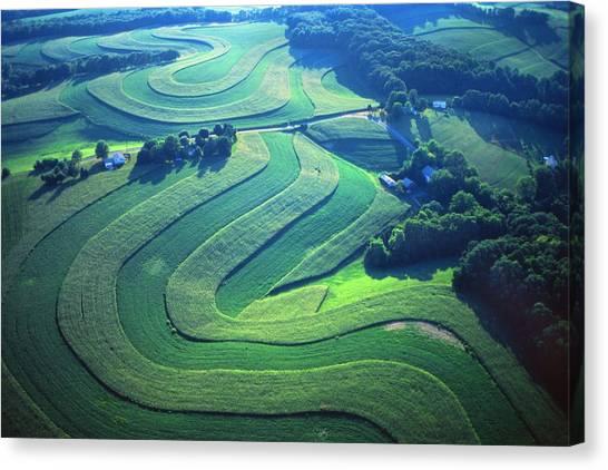 Green Farm Contours Aerial Canvas Print by Blair Seitz