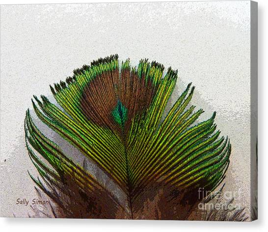 Green Feather Tip Canvas Print