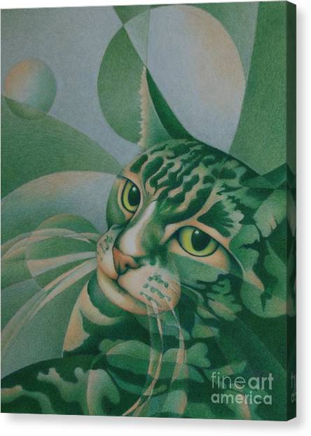 Green Feline Geometry Canvas Print