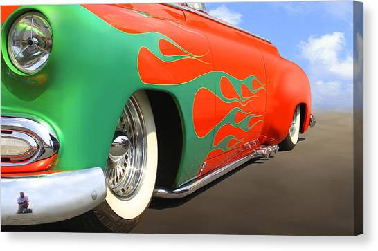 Street Rods Canvas Print - Green Flames by Mike McGlothlen