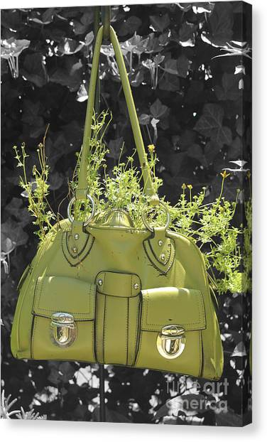 Green Flower Bag Canvas Print