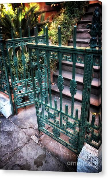 Green Gate Of Savannah Canvas Print by John Rizzuto